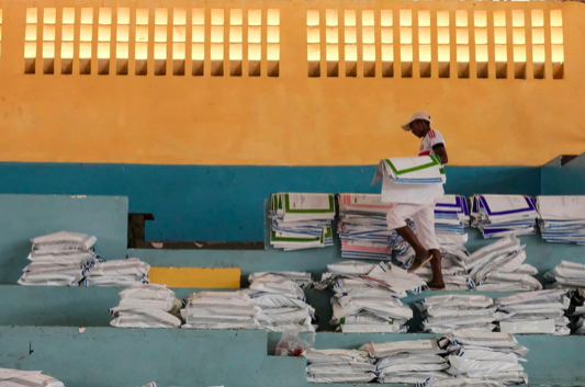 On Thursday, Nov. 8, 2018, a day after the people of Madagascar cast their votes, ballots were stored at a centre in Antananarivo, Madagascar. Credit: Kabir Dhanji/ Associated Press