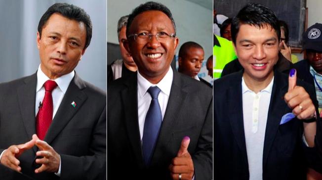 The three Presidential frontrunners Marc Ravalomanana (left), Hery Rajaonarimampianina (centre), and Andry Rajoelina (right). Credit: Mike Hutchings/Thomas Mukoya/ Reuters via Al Jeezra