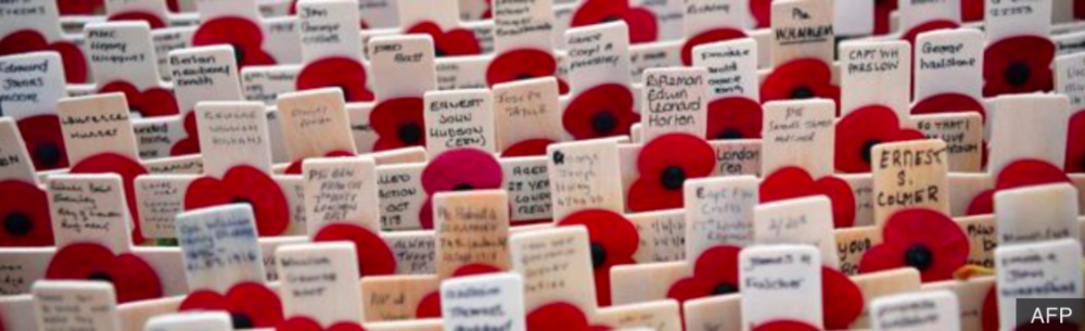 The World is observing the 100th anniversary of the end of WWI. Source:  AFP