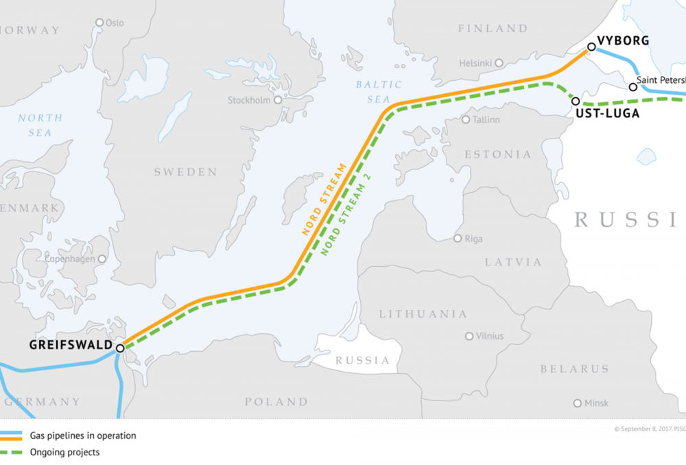Nord Stream 2 Route;    Source: Gazprom