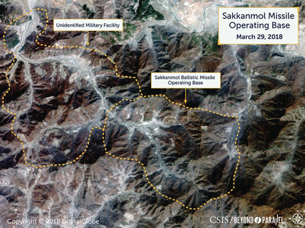 Satellite image, dated Mar. 29, 2018, of Sakkanmol Missile Operating Base and an adjacent unknown military facility in North Hwanghae province, North Korea, roughly 85 kilometers (53 miles) north of the Demilitarized Zone. Credit:  Beyond Parallel/Center for Strategic and International Studies