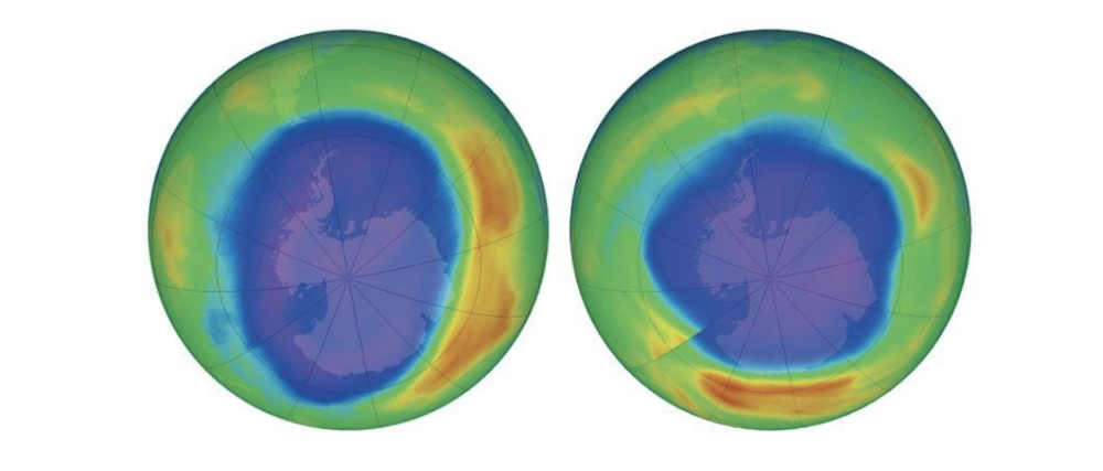 The combination of images shows areas of low ozone above Antarctica in September 2000, left, and September 2018, right. The purple and blue colors are where there is the least ozone, and the yellows and reds are where there is more ozone. Photo:    AP   .