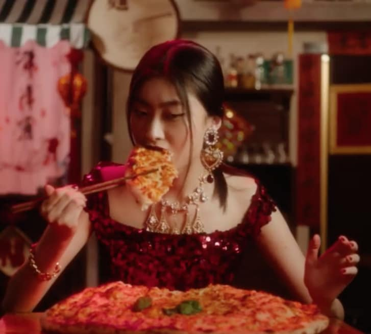 "A still captured from the first video of the ""Eating with Chopsticks"" series of advertisement spots posted (and later taken down) by Dolce & Gabbana. Credit:  Dolce & Gabbana/CNN"