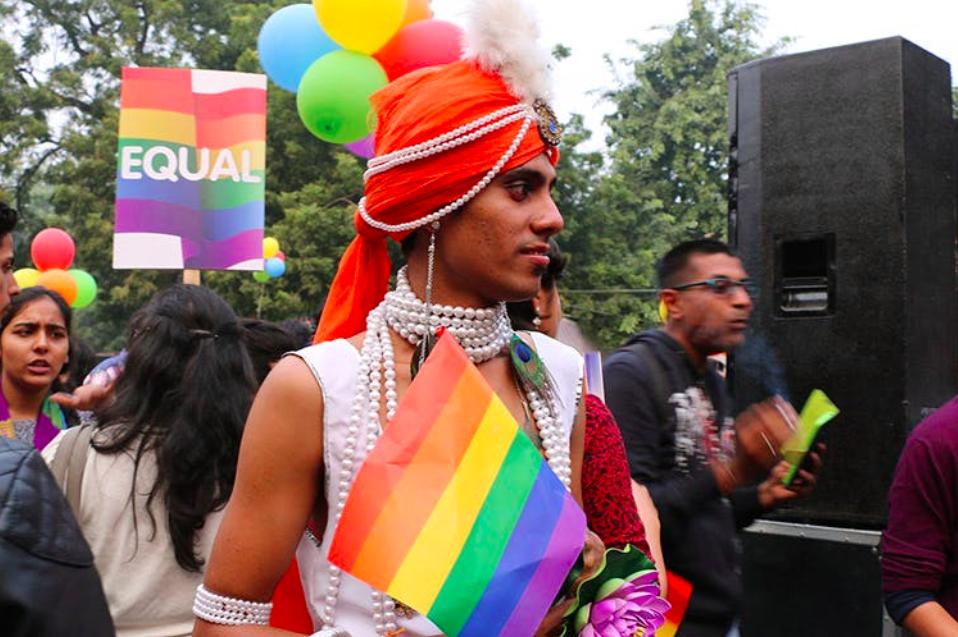 A proud LGBTQ+ marcher at Delhi's 11th annual Pride Parade;  Photo: LBB