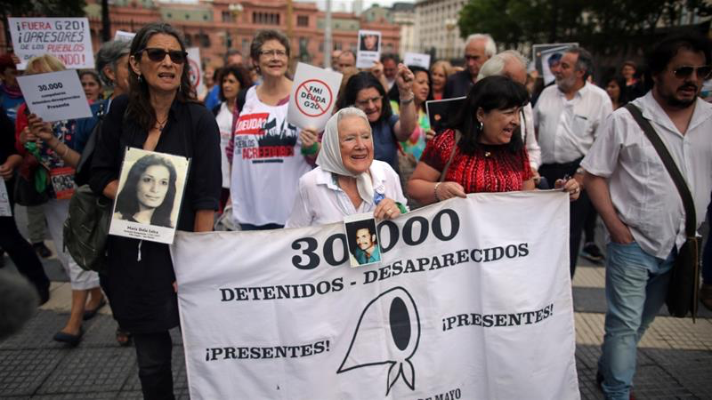 The Madres de la Plaza de Mayo marching in Buenos Aires on Friday. Photo:  Agustin Marcarian/Reuters via Al Jazeera .