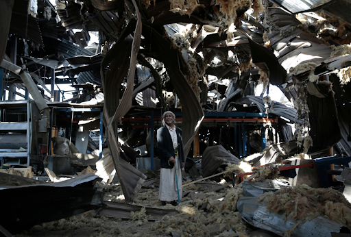 The remnants of a factory in Sanaa, Yemen; one of many buildings and infrastructures destroyed in the Yemeni civil war. Credit:  Hani Mohammed/Associated Press