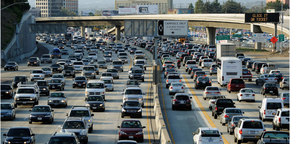 Traffic on a freeway in Los Angeles. Photo:  Mary Marcus