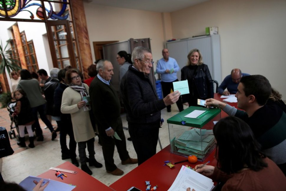 Voters cast their ballots in the Andalusian regional election in Spain on Dec. 2. Photo:  REUTERS/Jon Nazca .