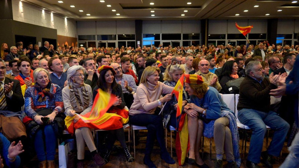 Voters congregate at a campaign meeting of Spain's far-right Vox party in Granada. Photo:  AFP .