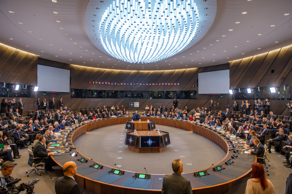 Foreign ministers of the member-states of the North Atlantic Treaty Organization (NATO) meet in NATO headquarters in Brussels, Belgium on Dec. 5. Photo:  NATO .