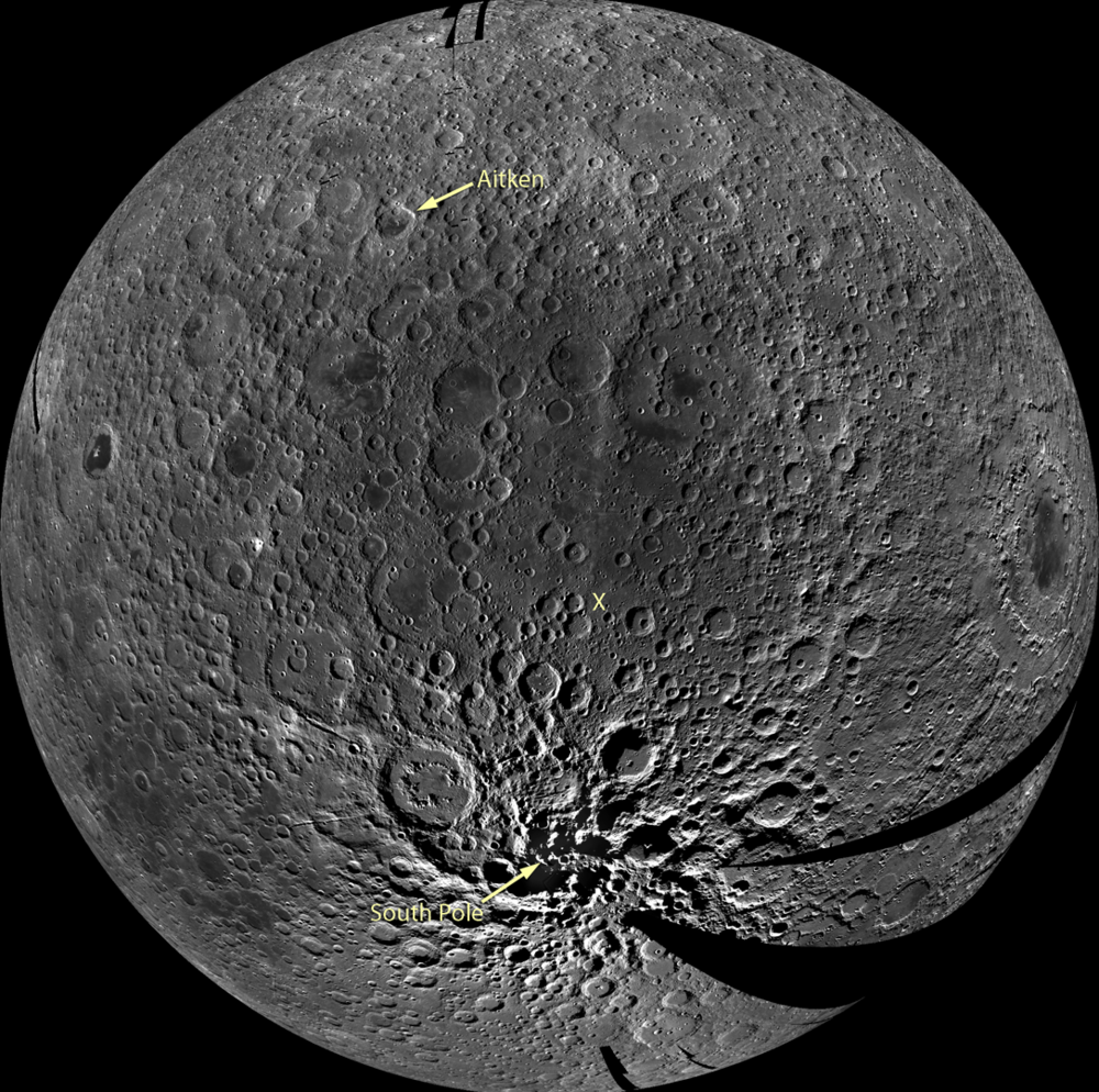 A preliminary monochrome mosaic of the Moon taken from NASA's LROC Wide Angle Camera (WAC) depicts the Aitken Basin and the South Pole that Chang'e-4 aims to study. Source:  NASA