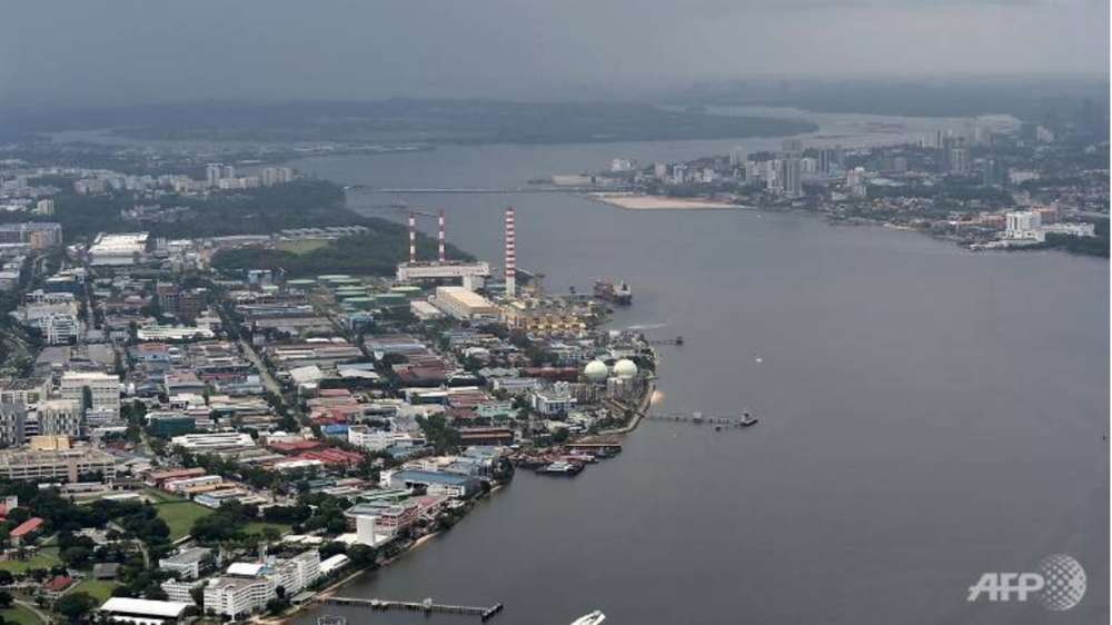 An aerial view of the Straits of Johor. A bridge linking Singapore (L) and Malaysia (R) can be seen. Source: Roslan Rahman /  Channel News Asia