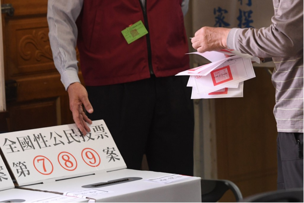 A photograph of ballot boxes for referendum questions 7, 8, and 9 at an election station. Credit:  Central News Agency