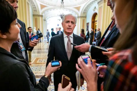Sen. Bob Corker (R-Tenn.), chairman of the Senate Foreign Relations Committee, speaks to reporters on Dec. 12, 2018, about efforts to curtail U.S. military support for the Saudi-led war in Yemen.  Photo Credits: Jim Lo Scalzo/EPA-EFE/Shutterstock