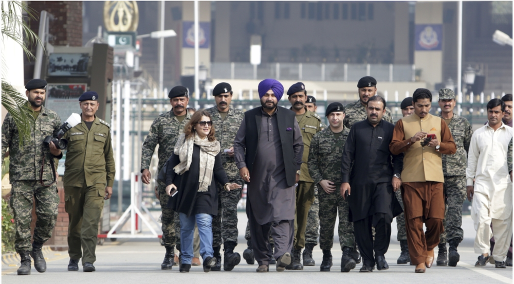 Provincial Minister Sidhu attending the inauguration ceremony in Pakistan. Photo:  KM Chaudary/AP .
