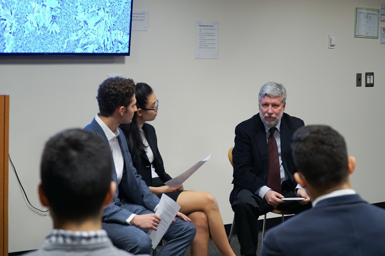 Agustín Santos Maraver, Spain's Permanent Representative to the UN, speaks to students at NYU. Photo: Danny Hegberg.