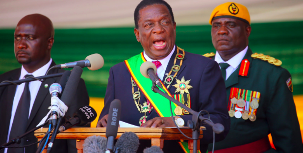 President Emmerson Mnangagwa at his official inauguration in August 2018 where he promised to pursue radical reforms to improve Zimbabwe after decades of hardship under Mugabe. Photo: Aaron Ufumeli /  Daily Maverick .