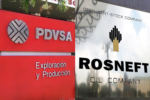 Left, PDVSA the Venezuelan state oil company; Right, Rosneft the Russian state oil company. Photo.    Source: Merco Press