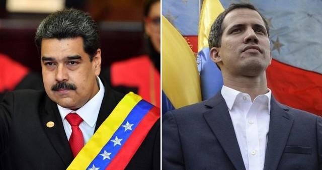 President Nicolas Maduro (left) and interim president Juan Guaidó (right). Photo:  GMA News .