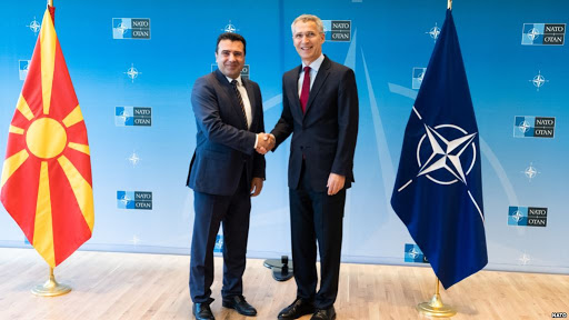 Macedonian Prime Minister Zoran Zaev (left) with NATO Secretary General Jens Stoltenberg (right). Photo.    Source: NATO via RFE/RL