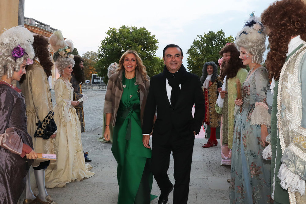 Carlos Ghosn and his wife at their 2016 wedding celebration at Versailles Palace, which came under scrutiny by Renault regarding Ghosn's use of the company money for the party.  Photo:  Laurent Campus/The New York Times