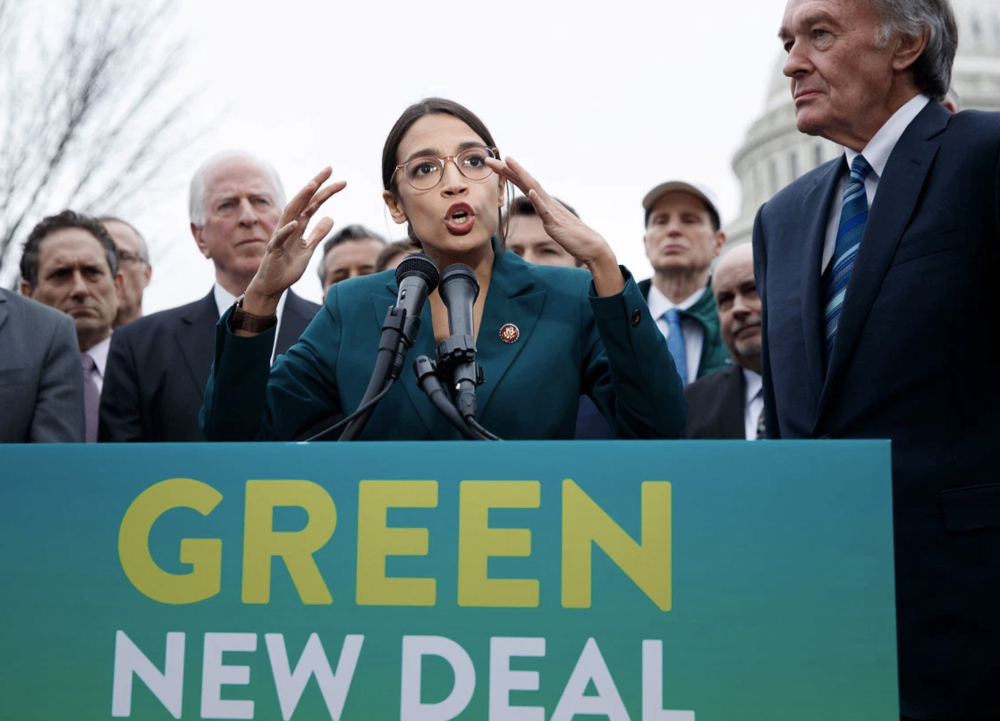 Rep. Ocasio-Cortez and Sen. Markey unveiling plans for a Green New Deal. Credit:  EPA