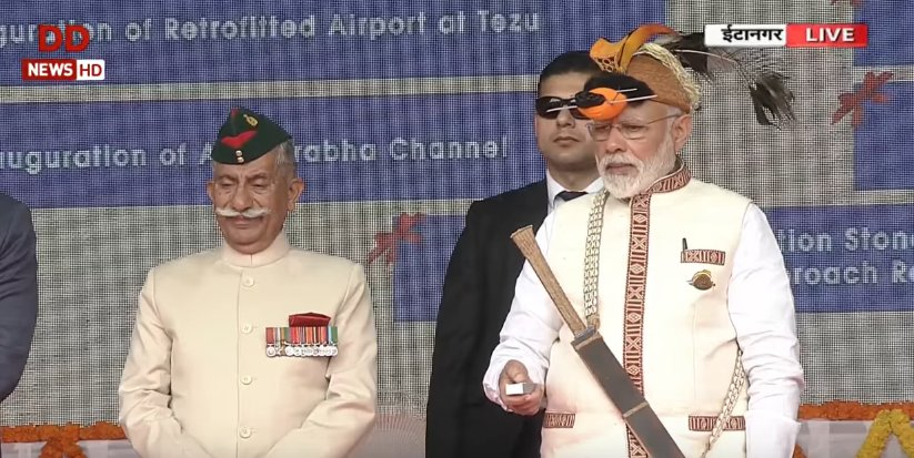 Indian Prime Minister Narendra Modi (front right) presides over the inauguration of several infrastructure projects in Arunachal Pradesh on Feb. 8, 2019. Credit:  Doordarshan News/Twitter