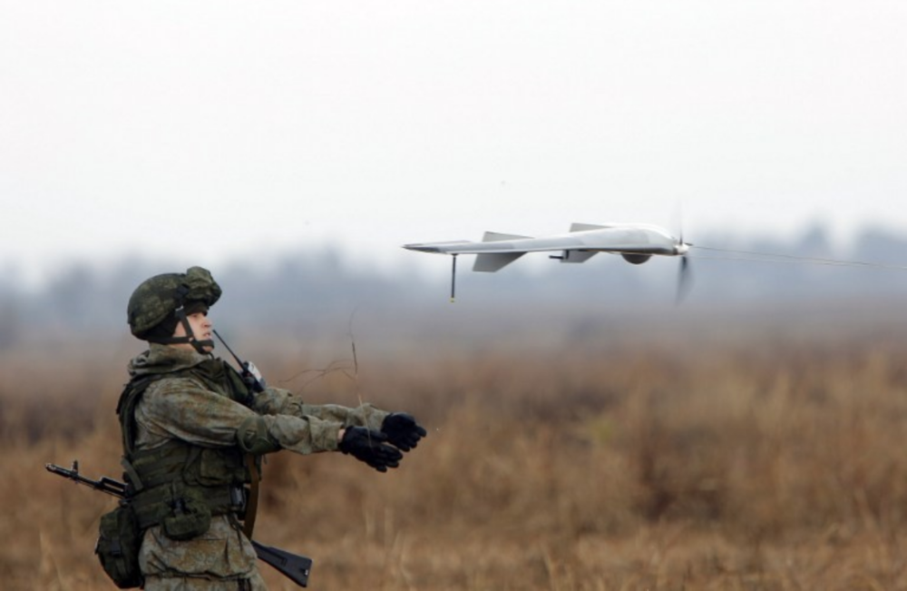 "A Russian soldier launches a drone during the joint Russian, Belarusian, and Serbian military exercise ""The Slavic Brotherhood"" near Belgrade on Nov. 7, 2016. Photo:  AFP"