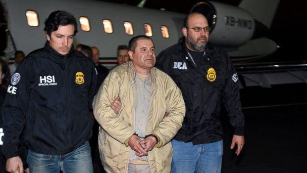 El Chapo landing at MacArthur airport in Long Island. Photo:  AP