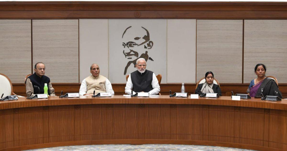 The Cabinet Committee on Security convened to discuss the Government's response to the Pulwama Attack on Friday, Feb. 15. Sitting from left to right: Finance Minister Arun Jaitley, Home Minister Rajnath Singh, Prime Minister Narendra Modi, Minister of External Affairs Sushma Swaraj and Minister of Defense Nirmala Sitharaman. Credit:  PIB India/Twitter