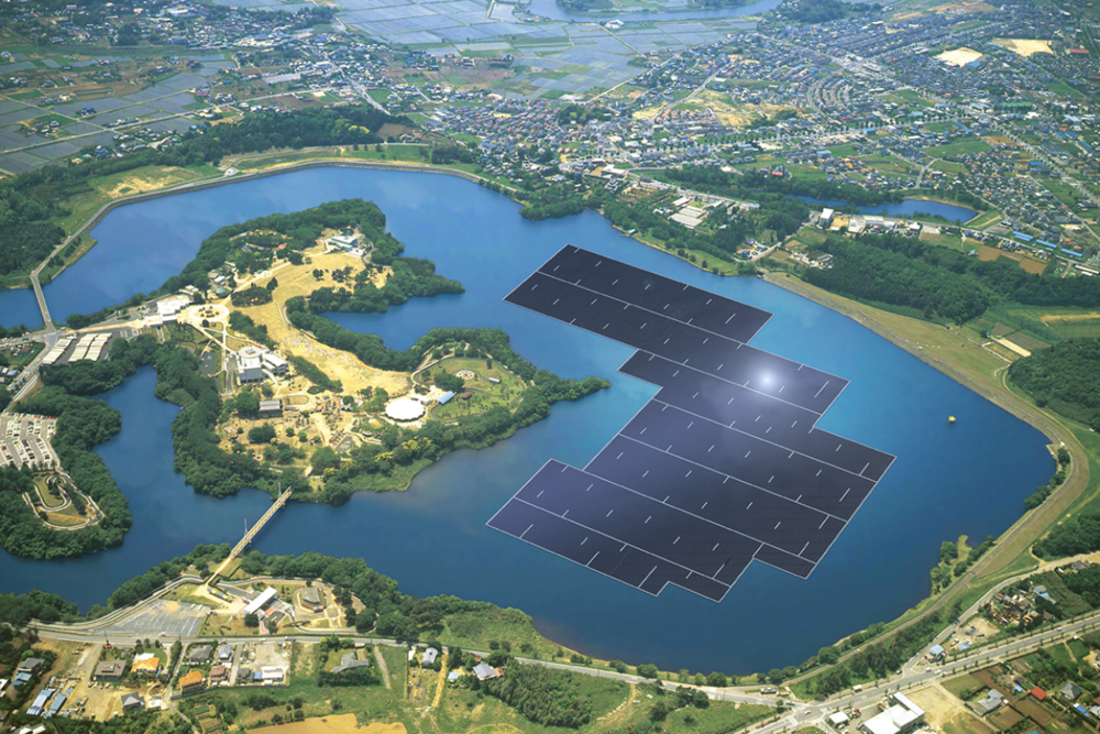 A rendering of the largest solar farm to be built in Japan, by Kyocera. Photo:  Business Wire