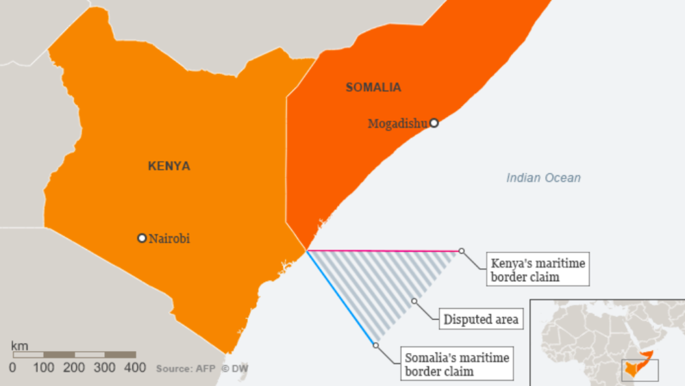Kenya and Somalia both lay claim to large swaths of maritime territory in the Indian Ocean.  Photo:  Deutsche Welle .