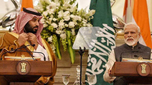 Prime Minister Modi and Prince Mohammad bin Salman at a joint press conference on Wednesday at the Hyderabad House in New Delhi; Photo:  Hindustan Times