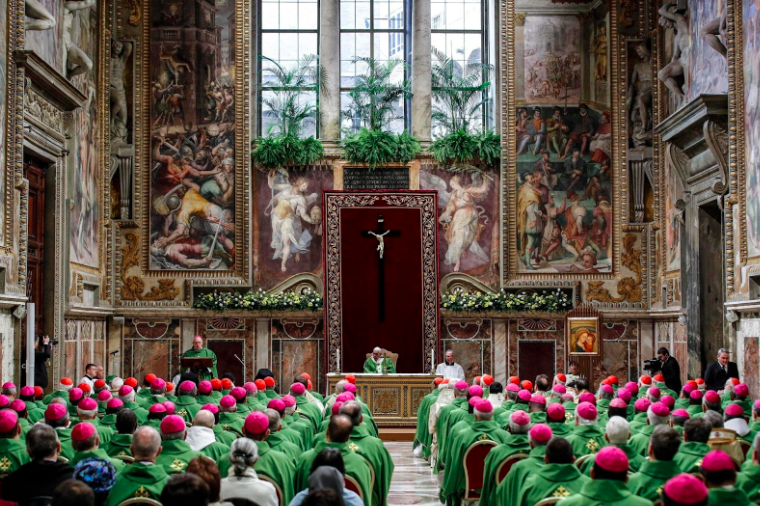 Pope Francis gives his closing remarks to bishops from worldwide at the Vatican sex abuse summit on Sunday. Photo: Giuseppe Lami/ The New York Times