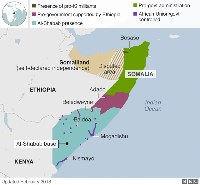 Actualized map of Al-Shabaab controlled land in Somalia  Photo:BBC