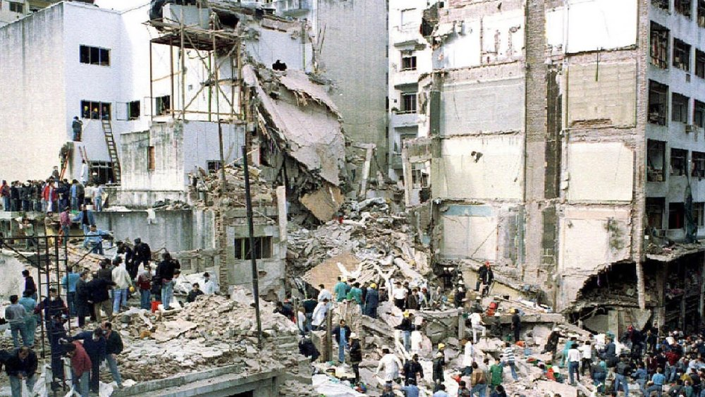 The attack on the AMIA where 85 people were killed and hundreds were injured.  Photo:  Reuters