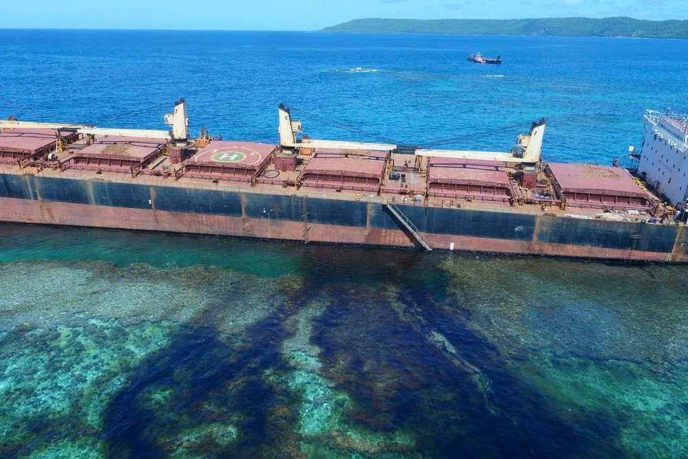 "Oil continues to leak from the ""MV Solomon Trader"" in the Solomon Islands. Photo:  AP / The Australian High Commission Solomon Islands."
