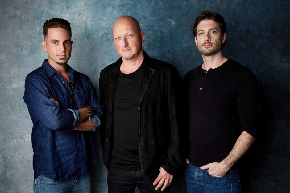 Wade Robson and James Safechuck with  Leaving Neverland  director Dan Reed. Photo:  ABC