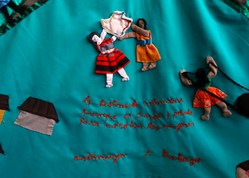 "A cloth embroidered by victims of the armed conflict in Colombia, which reads, ""The history of Colombia is always cruel and heavy for us women."" Photo: Luisa Gonzalez/  Reuters"
