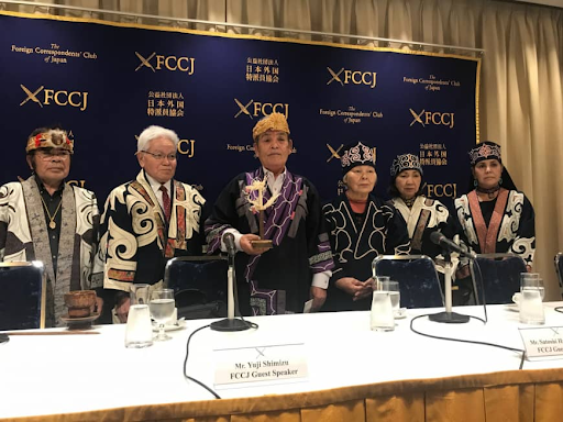 Representatives of Ainu rights groups hold a press conference at the Foreign Correspondents' Club of Japan on Mar. 1, 2019. Photo:  KYODO/Japan Times