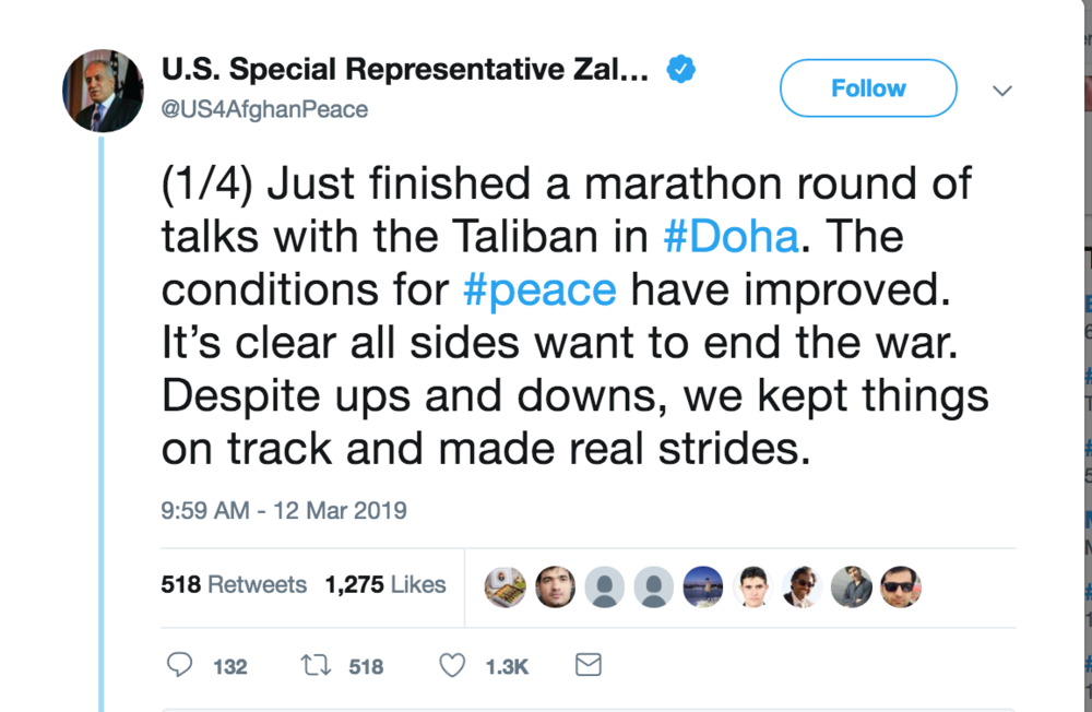 Tweet published by U.S. Special Representative Zalmay Khalilzad on March 12, 2019; Photo:  Twitter