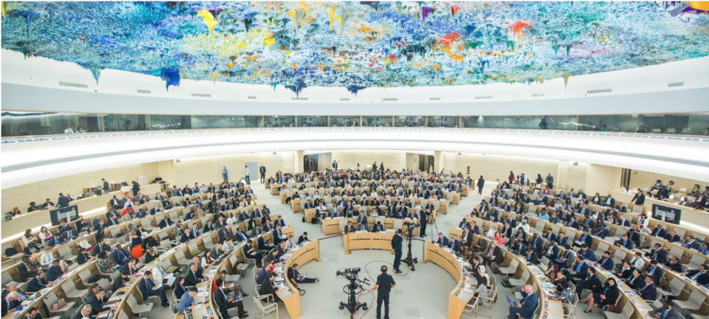 """The Human Rights Council meets in a special session on """"the deteriorating human rights situation in the occupied Palestinian territory, including East Jerusalem"""" on May 18, 2018 in the United Nations Office in Geneva. Photo:  Elma Okic/UN Photo"""