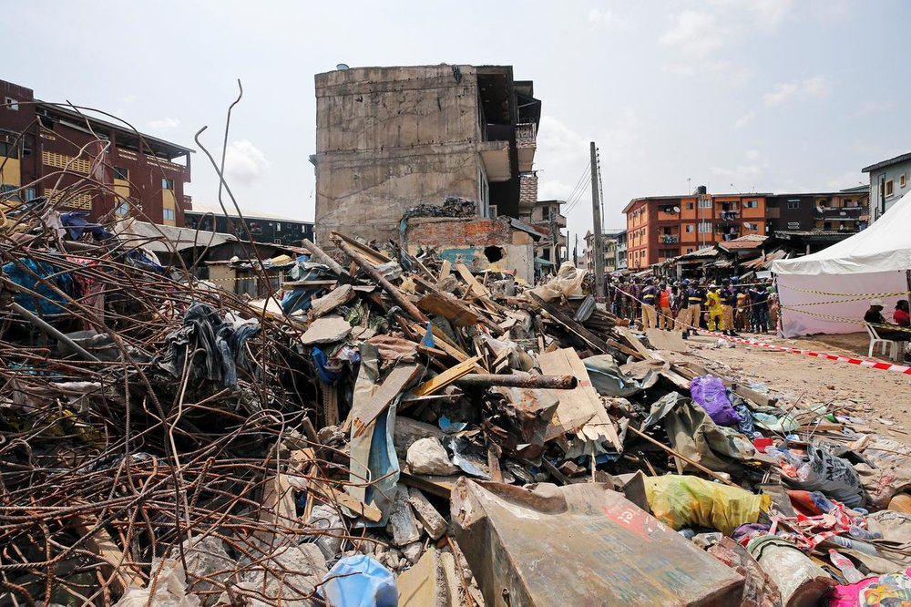 The rubble and aftermath from the collapse.  Photo:  Afolabi Sotunde/Reuters
