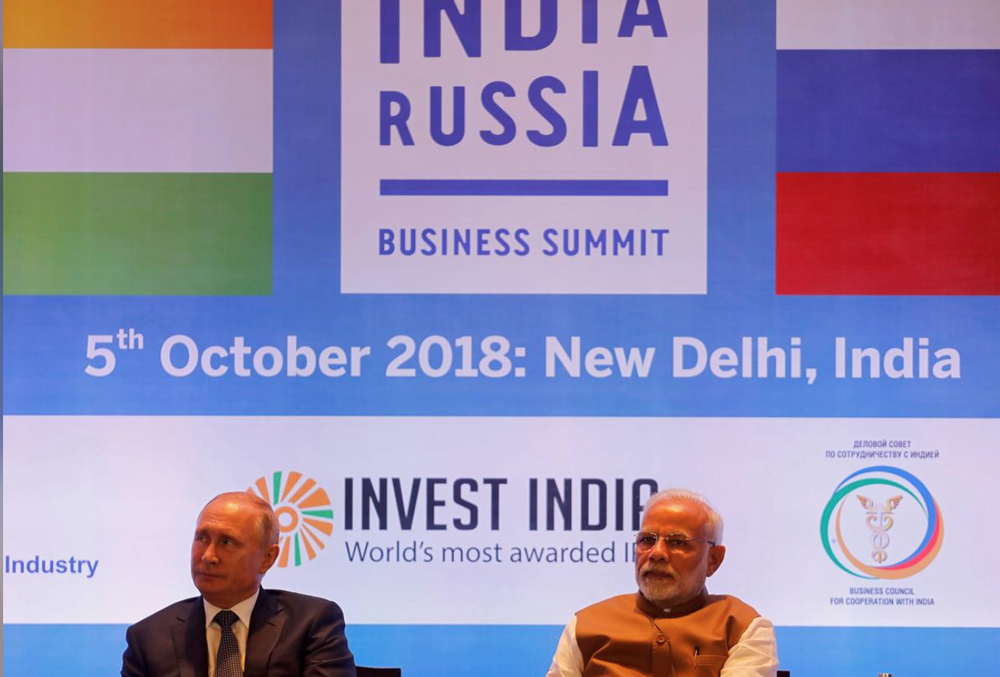 Prime Minister Narendra Modi and President Vladimir Putin met last October, in New Delhi, to discuss a nuclear deal.  Photo:  Altaf Hussain/Reuters