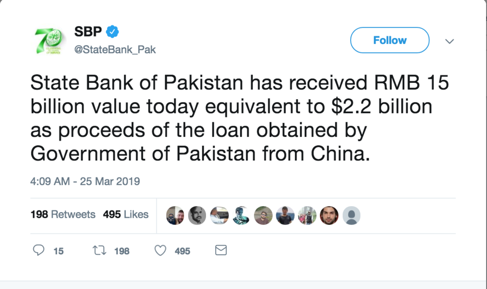 A Tweet from Pakistan's Central Bank about China's loan; Photo:  Twitter