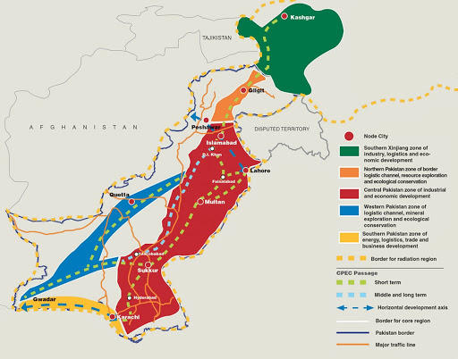 A geographic visualization of CPEC's potential route; Photo:  Dawn