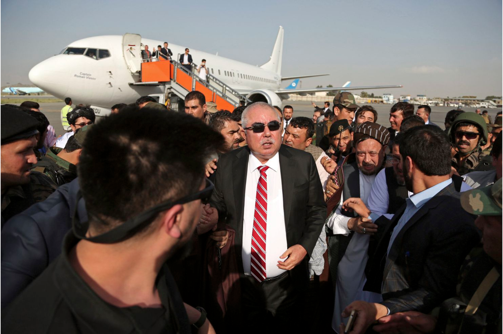 Afghan Gen. Abdul Rashid Dostum arriving in Afghanistan in July of 2018 after his second period of exile in Turkey.  Photo:  Rahmat Gul/AP