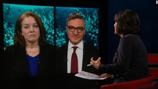 Scott Gilmore and Cat Colvin, sister of murdered journalist Marie Colvin appearing on CNN; Photo:  CNN