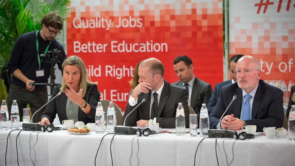 High Representative of the Union for Foreign Affairs and Security Policy Federica Mogherini of Italy (left), Prime Minister Joseph Muscat of Malta (center), and First Vice-President of the European Commission and PES Common Candidate Frans Timmermans of the Netherlands (right) on April 10, 2019. Photo:  PES