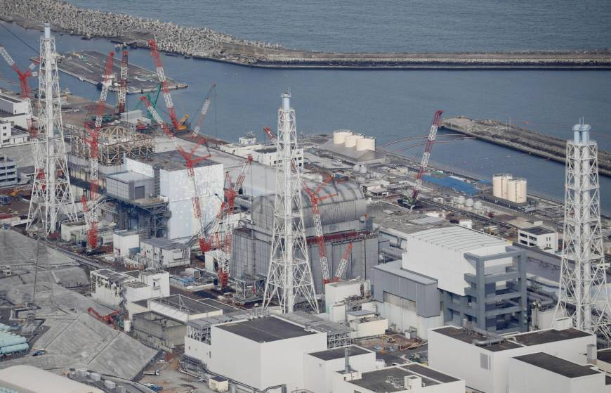 An aerial view of the Fukushima Nuclear Reactors, February of 2018. Photo:  Japan Times